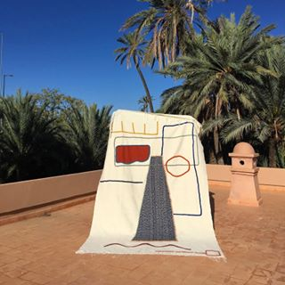 Marrakech based artist @lrnce's custom handmade tapestries for the newly opened Byblos Uptown