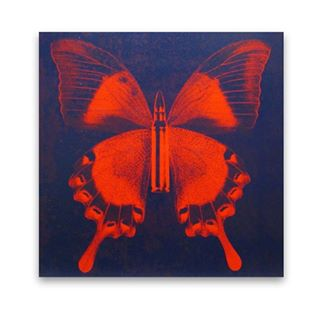 """Red Butterfly on Blue"" by Rubem Robierb 